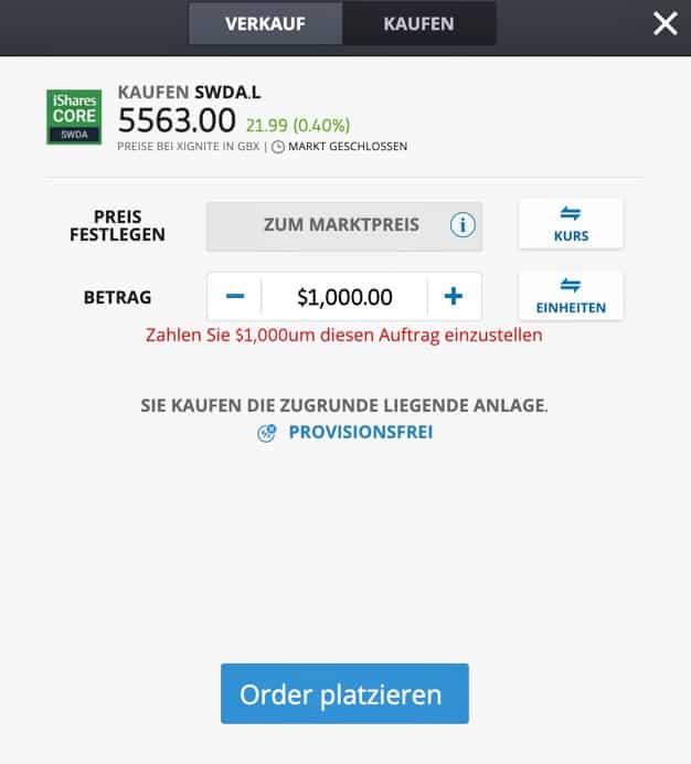 ETFs kaufen bei eToro