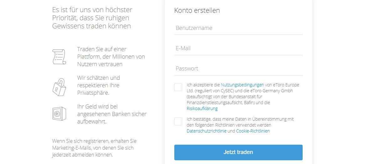 eToro Anmeldung